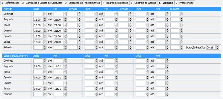 Agenda de Consultas e Agenda de Salas e Equipamentos