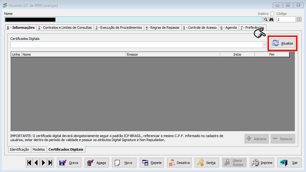 Clique no botão atualizar para buscar os certificados instalados;