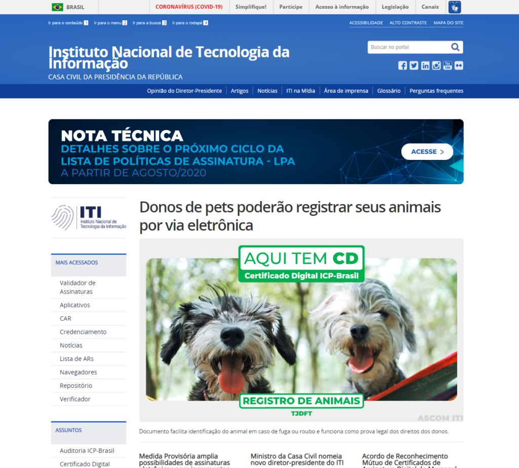 Entrar no site ITI ( Instituto Nacional de Tecnologia da Informação )