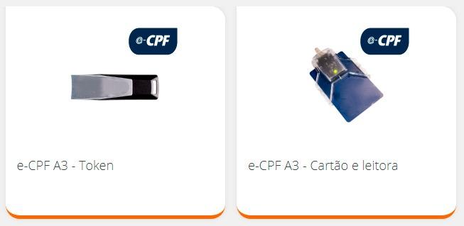 Adquirir um  certificado e-CPF A3 - Token ou Cartão