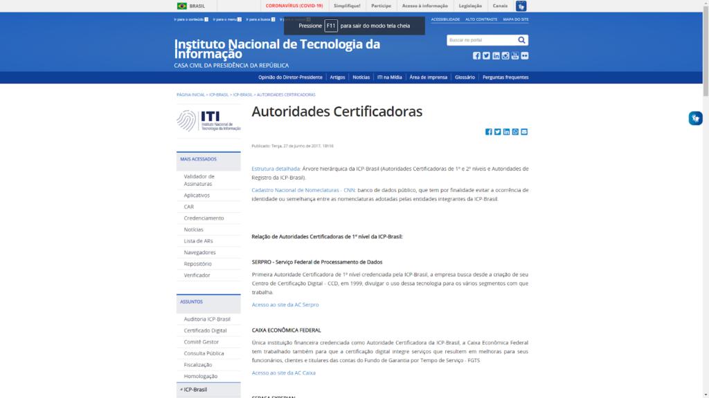Abrir a lista de Autoridades Certificadoras e selecionar a que mais é conveniente para você